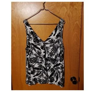 Black and White Floral Sleeveless Shirt